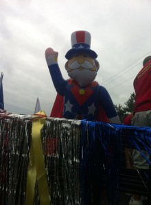 Uncle Sam on our truck at the New Britain 4th of July Parade